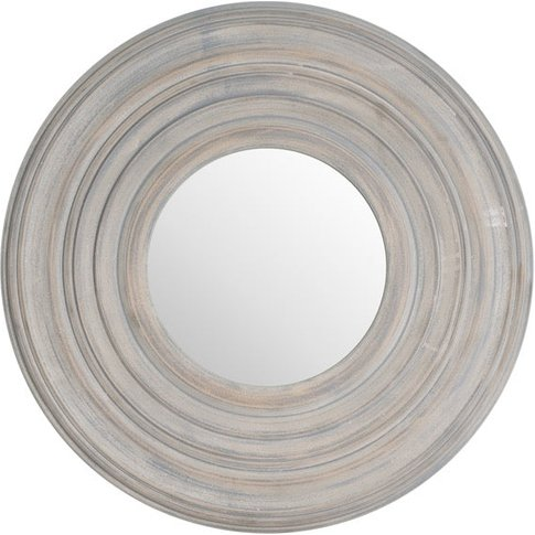 Hill Grey Painted Round Textured Mirror