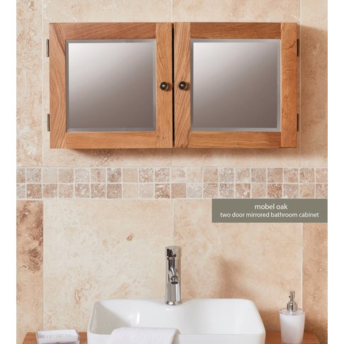 Baumhaus Solid Oak Mirrored Double Door Cabinet