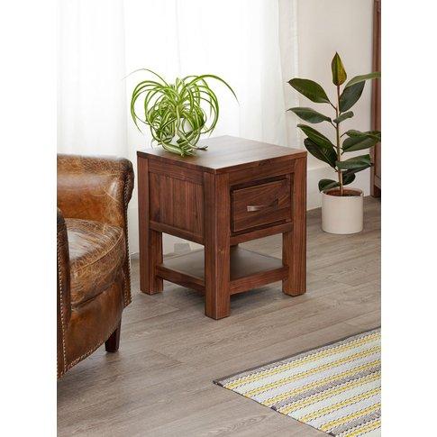 Baumhaus Mayan Walnut One Drawer Lamp Table