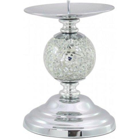 Silver Mosaic One Ball Candlestick