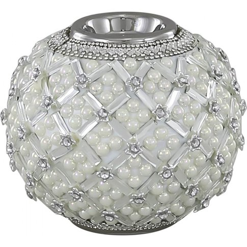 11.5cm Ball Tealight Holder With Pearl Detail Ivory