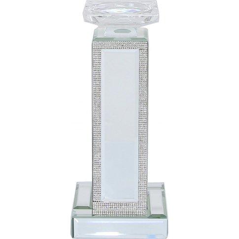 28cm Glitz And Mirror Pillar Tealight Holder