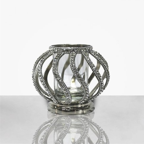 45cm Ring Pillar Candle Holder With Glass Cup Nickel