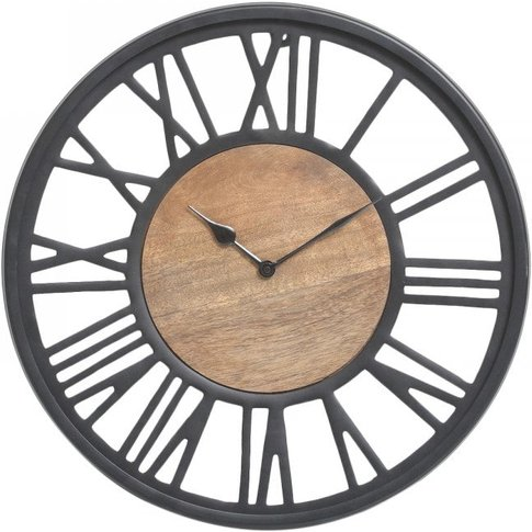 Small Round 40cm Black And Natural Wood Wall Clock /...