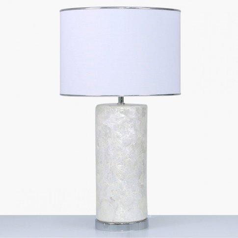 Cimc Medium Cream White Shell Ceramic Table Lamp Wit...