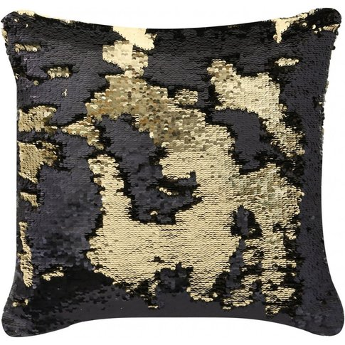 Black & Gold Two Tone Sequin Siren Cushion / White