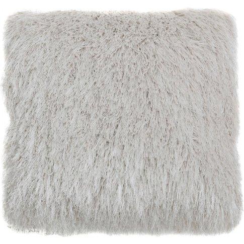 Filled White & Silver Faux Fur Cushion