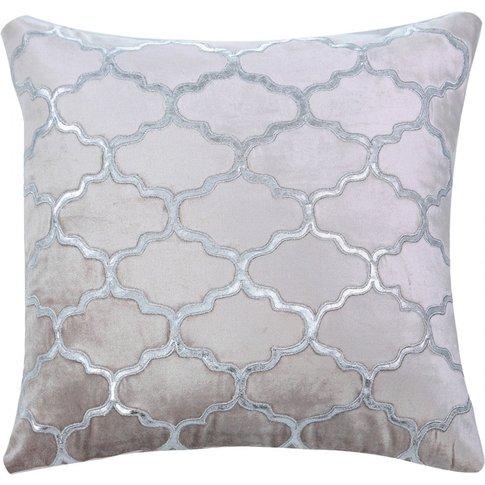Patterned Pink Velvet Cushion