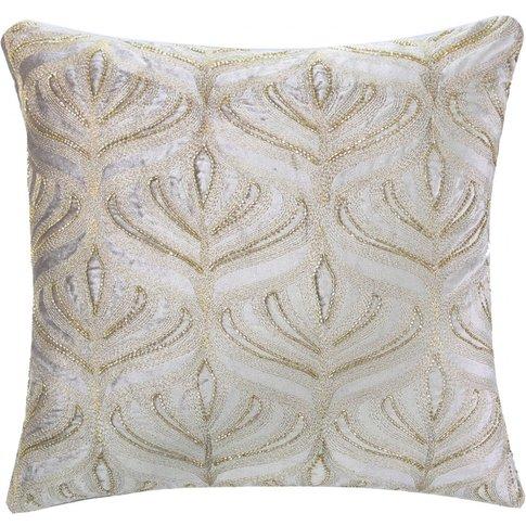 Gingko Leaf Embroidered Beige Velvet Cushion