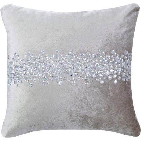 Stone Beaded Beige Velvet Cushion