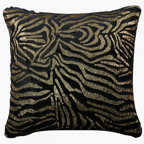 Faux Fur Black And Gold Zebra Cushion / Gold