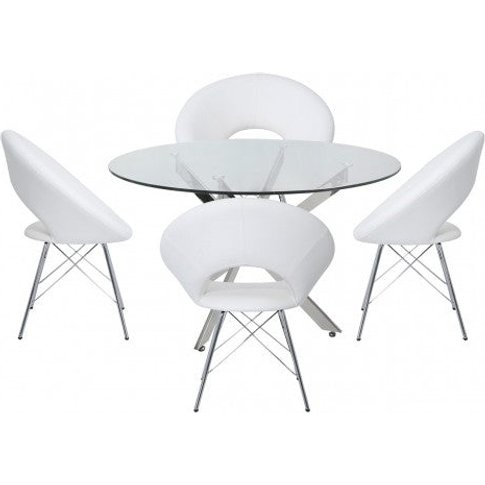 Nyla 130cm Round Dining Table And 4 White Orb Chairs / Chrome