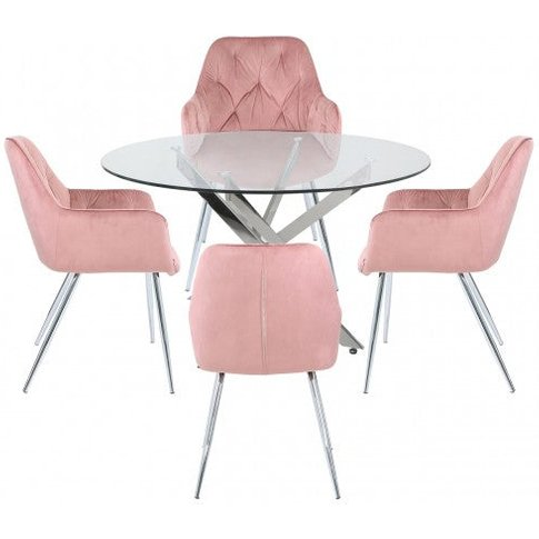 Nyla 130cm Round Dining Table And 4 Rose Pink Stella...