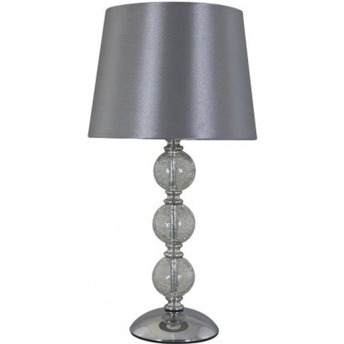 Clear Cracked Glass Silver 3 Ball Table Lamp