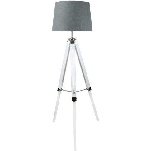White Hollywood Floor Lamp With 17 Inch Grey Linen D...
