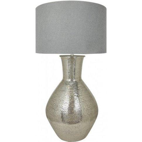Nickel Olpe Floor Lamp With A 24 Inch Grey Linen Dru...