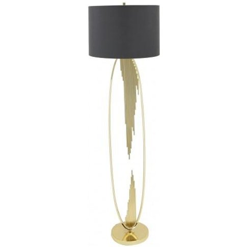 Gold Oval Abstract Floor Lamp With 18 Inch Taupe Fau...