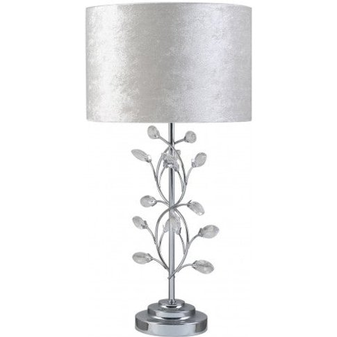 Cimc Chrome Metal Table Lamp With Ivory Shade