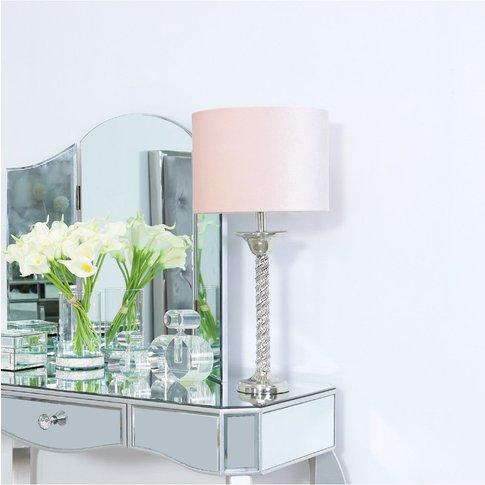 Cimc 40cm Glitz Twist Table Lamp With Pink Velvet Shade