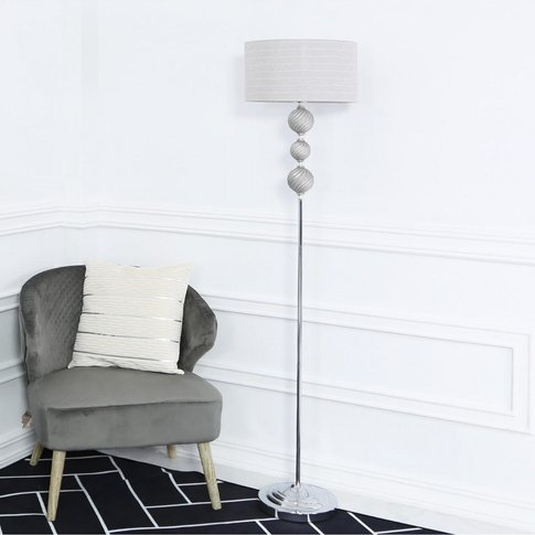 Three Ceramic Ball Floor Lamp With Silver Shade