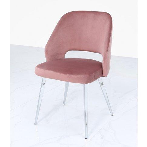 Pink Velvet & Chrome Dining Chair