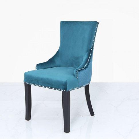 Marine Green Velvet Dining Chair With Ring Diamond Back