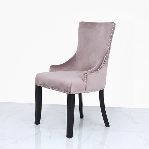 Pink Velvet Dining Chair With Ring Diamond Back