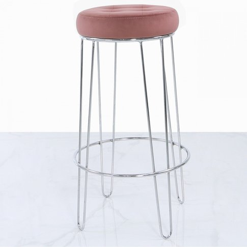 Set Of 2 Colton Chrome Bar Stools With Padded Pink V...