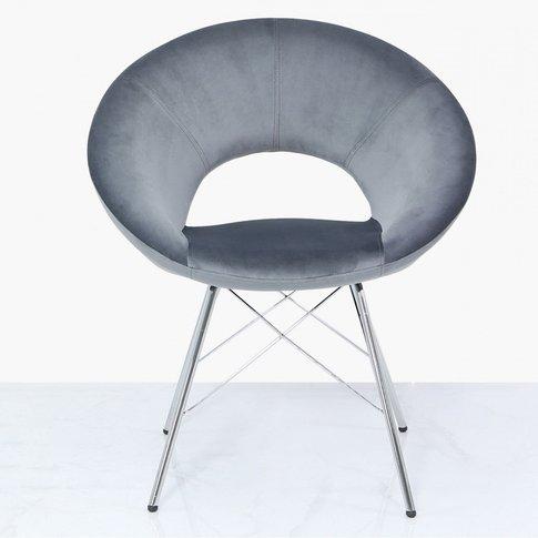 Orb Dining Chair Grey Velvet