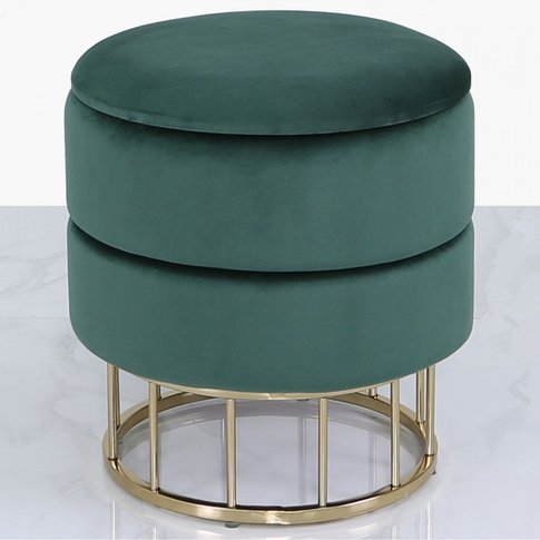 Deco Home Forest Green Velvet And Gold Metal Round S...