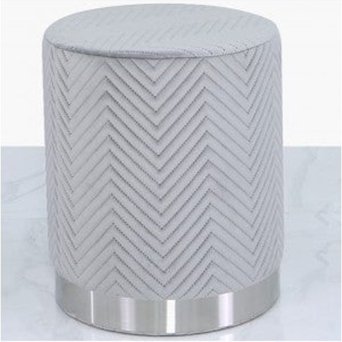 Deco Home Grey Patterned Velvet And Chrome Round Foo...