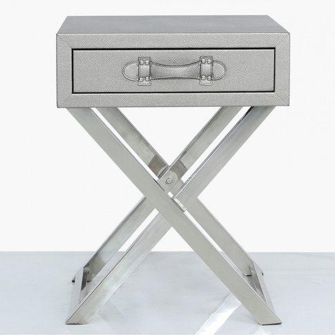 Pewter Faux Leather And Stainless Steel 1 Drawer End...