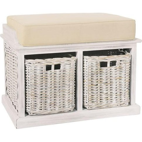 Rowico Anya White Rattan Small Bench With Baskets