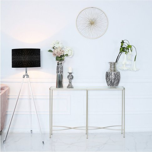 Wave Metal Console Table Champagne Clear Glass Top
