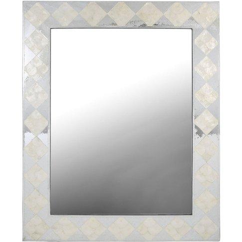 White & Silver Diamond Decorative Wall Mirror