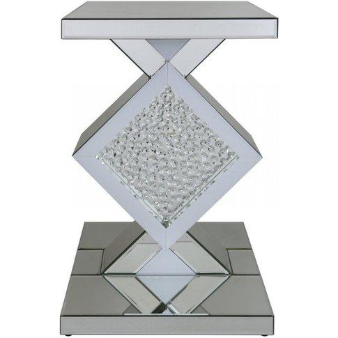 Alena White Diamond Mirror Diamond End Table