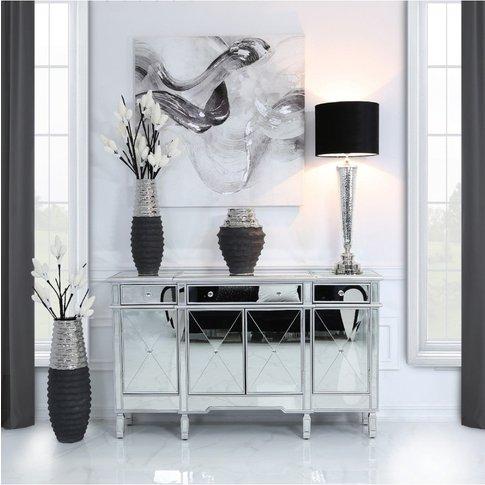 Bella 3 Drawer 4 Doormirror Cabinet Silver Trim