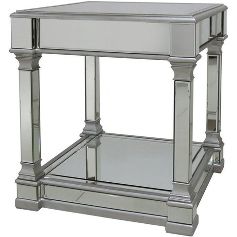Amber 60cm Mirror End Table Silver