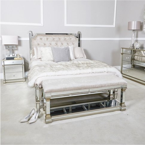 Deco Home Athens Gold Mirrored Upholstered Bed End B...