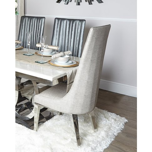 Josephine Taupe Faux Leather Stitched Design Dining ...