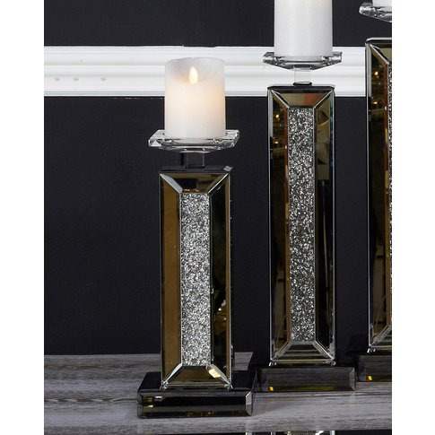 53cm Makayla Smoked Mirror Candle Holder