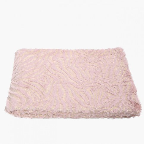 Cimc Valetta Faux Fur Pink And Gold Zebra Throw