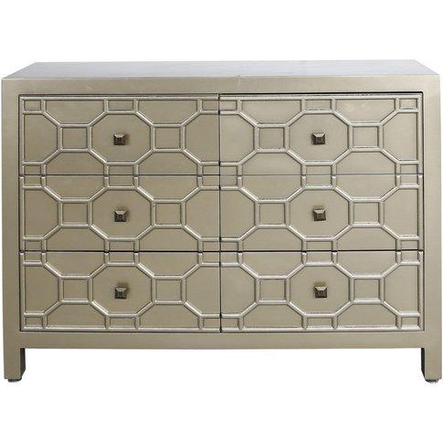 6 Drawer Rueben Geometric Wood Cabinet Gold