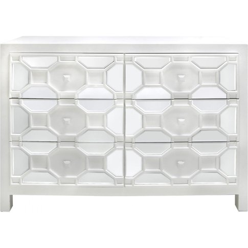 6 Drawer Rueben Geometric Wood Cabinet White
