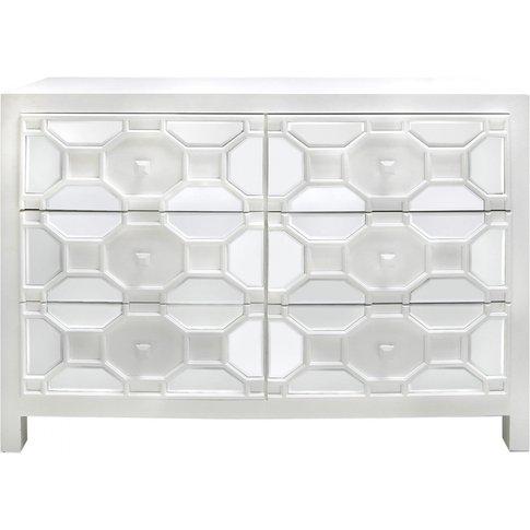 6 Drawer Rueben Geometric Wood Cabinet White