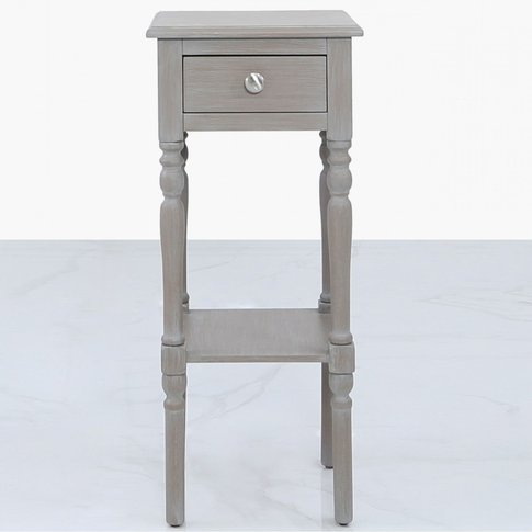 Arabella Taupe Wood Small 1 Drawer Telephone Table S...