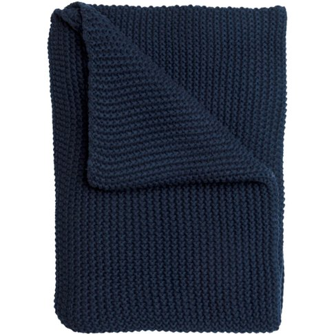 Navy Blue Knitted Throw