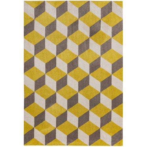 Asiatic Carpets Arlo Machine Knitted Rug Yellow Bloc...