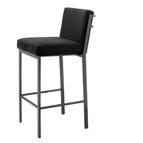 Eichholtz Bar Stool Scott Bronze Finish Black Velvet