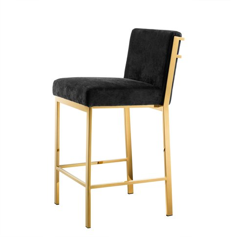 Eichholtz Scott Counter Stool In Gold Finish With Bl...